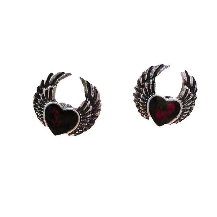 Gothic Red Blood Heart with Wings Stud Earrings