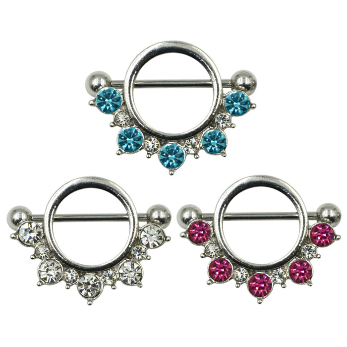 316L Stainless Steel Nipple Shield with Cubic Zirconia 1 Pair (2 pcs) - Gemwaith