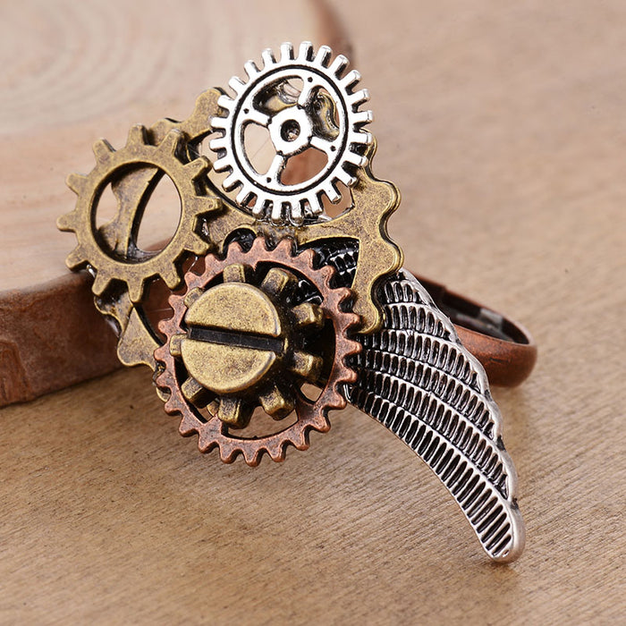 Steampunk Gears and Wing Adjustable Ring - Gemwaith