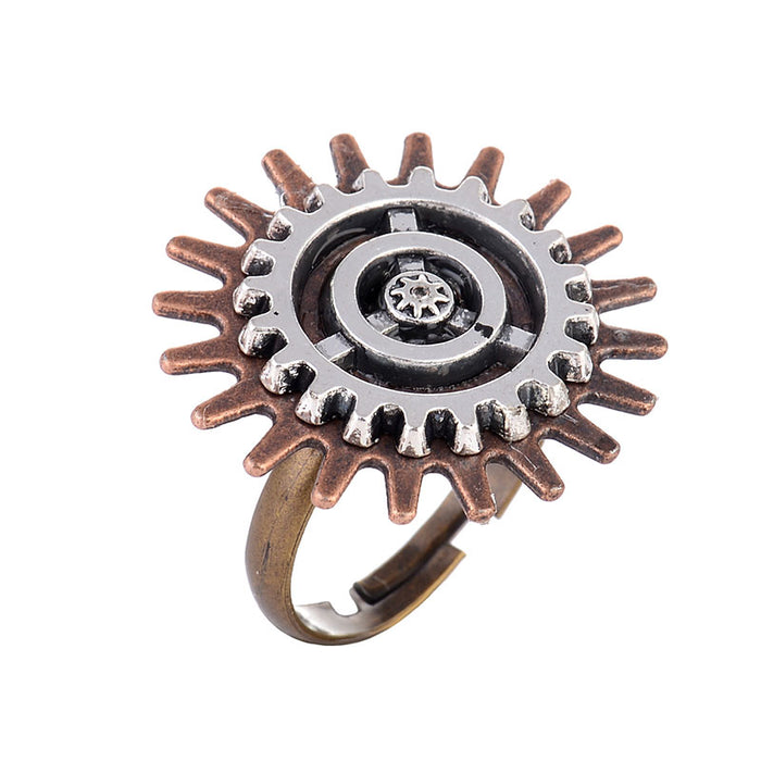 Steampunk Gear Adjustable Ring - Gemwaith