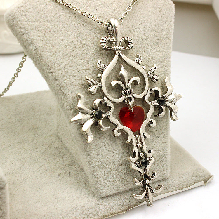 The Vampire Diaries Unique Red Crystal Sacred Heart Cross Pendant Necklace - Gemwaith