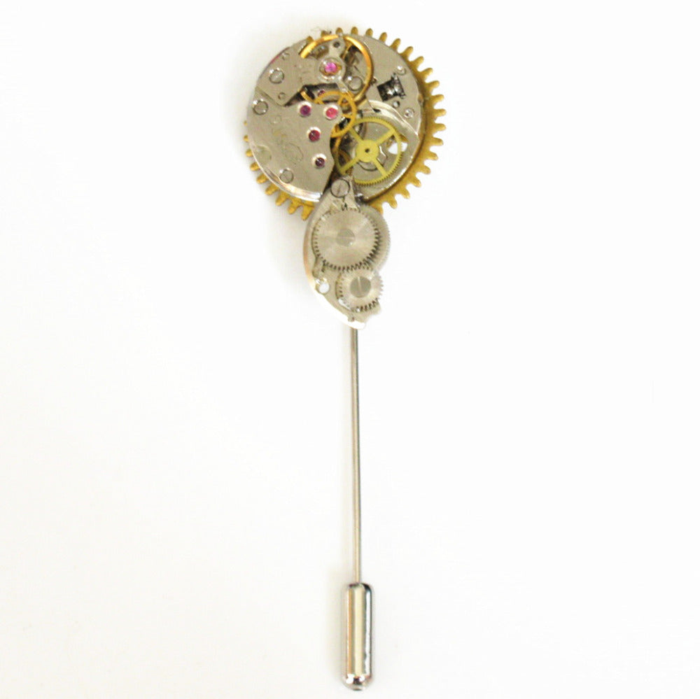Steampunk Watch Parts Stick Lapel or Hat Pin - Gemwaith