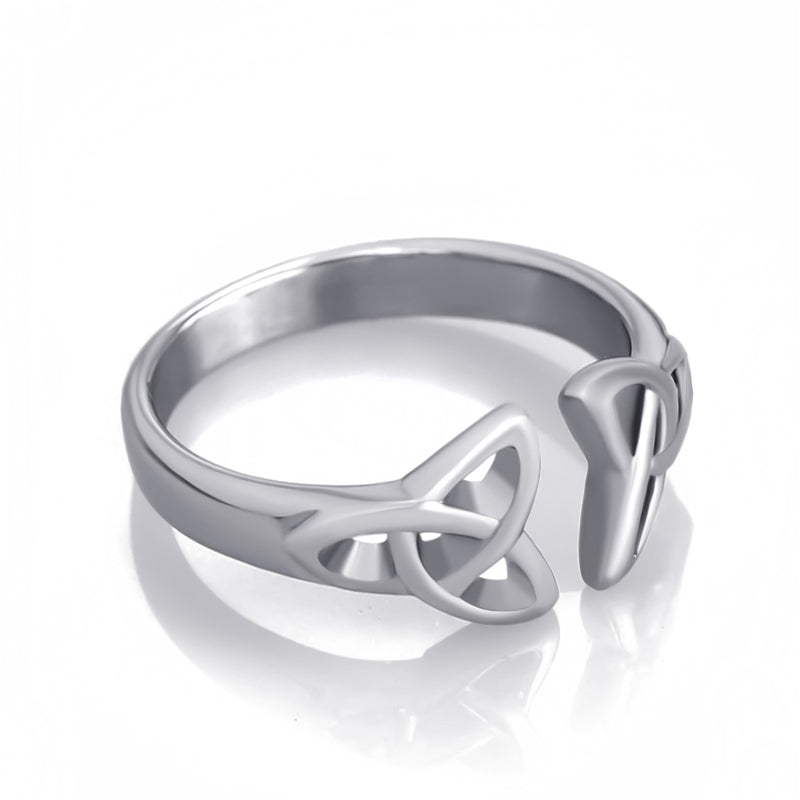 316L Stainless Steel Double Trinity Knot Ring - Gemwaith