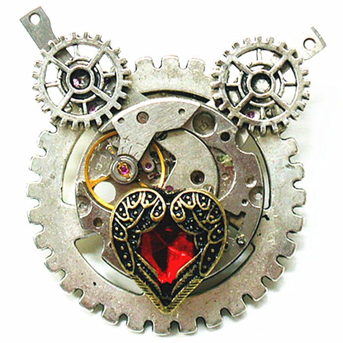 Steampunk Gothic Fantasy Red Heart Watch Mechanism Gear Brooch Pendant - Gemwaith