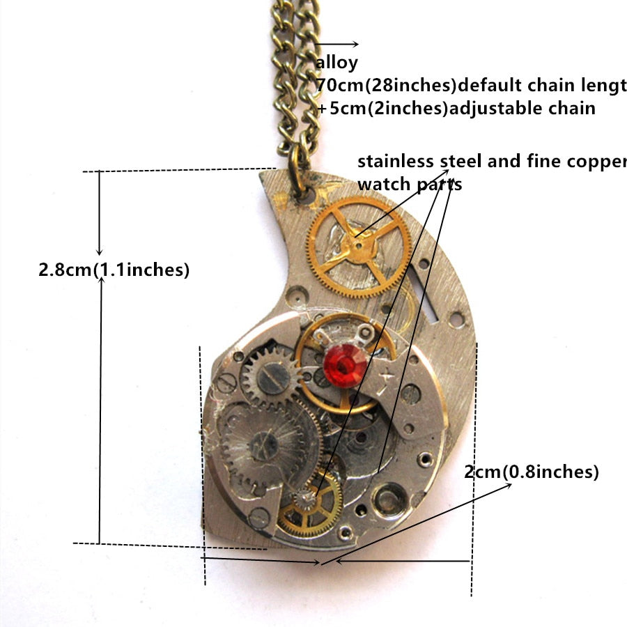 Steampunk Watch Parts Metal Gear Crescent Moon Pendant Necklace - Gemwaith
