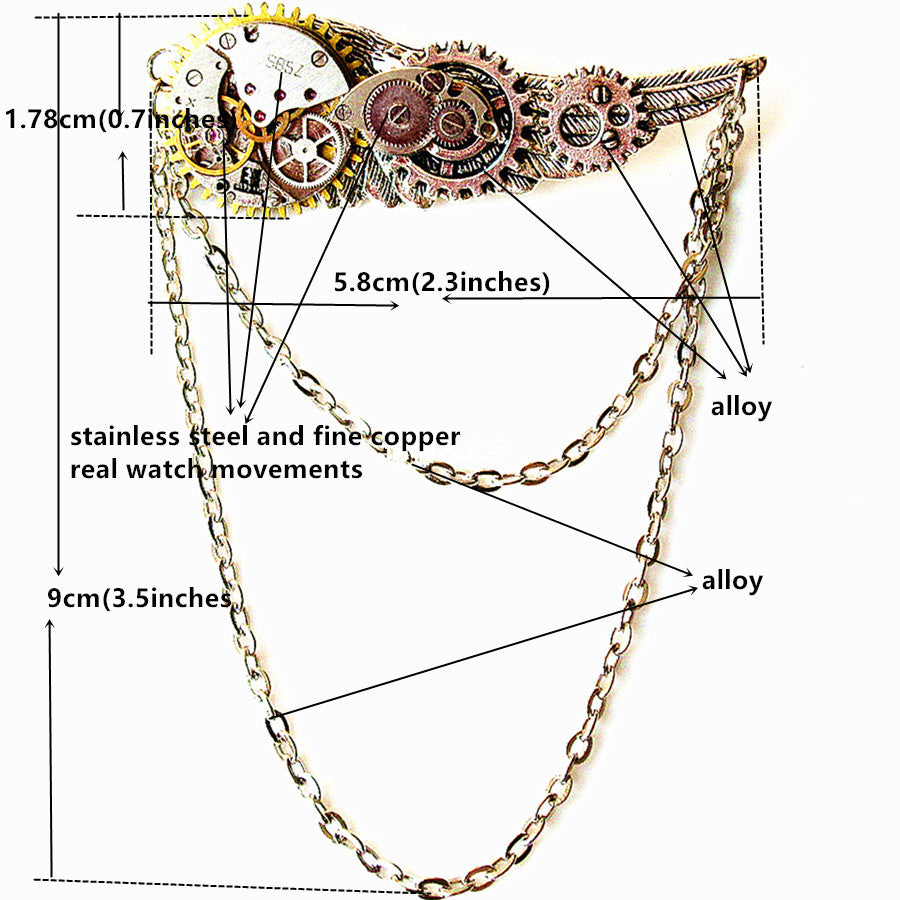 Steampunk Gothic Wing Chain Watch Mechanisms Gears Brooch - Gemwaith