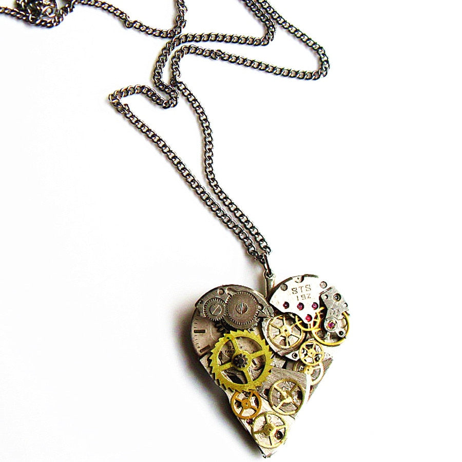 Mechanical Watch Parts Heart Pendant - Gemwaith