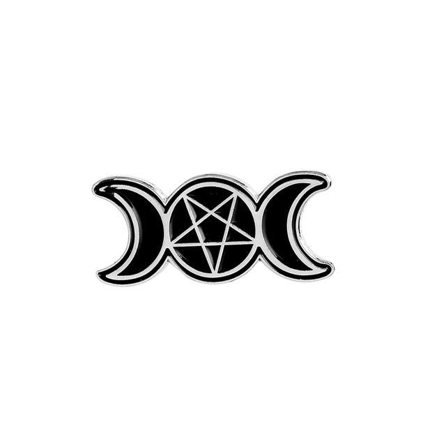 Triple Moon and Pentagram Black Enamel Pin - Gemwaith