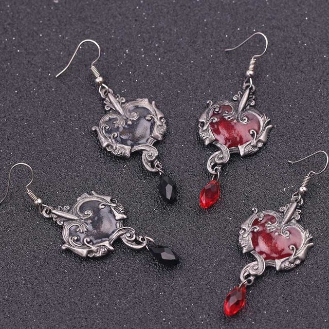 Dark Delphic Skull Earrings - Gemwaith
