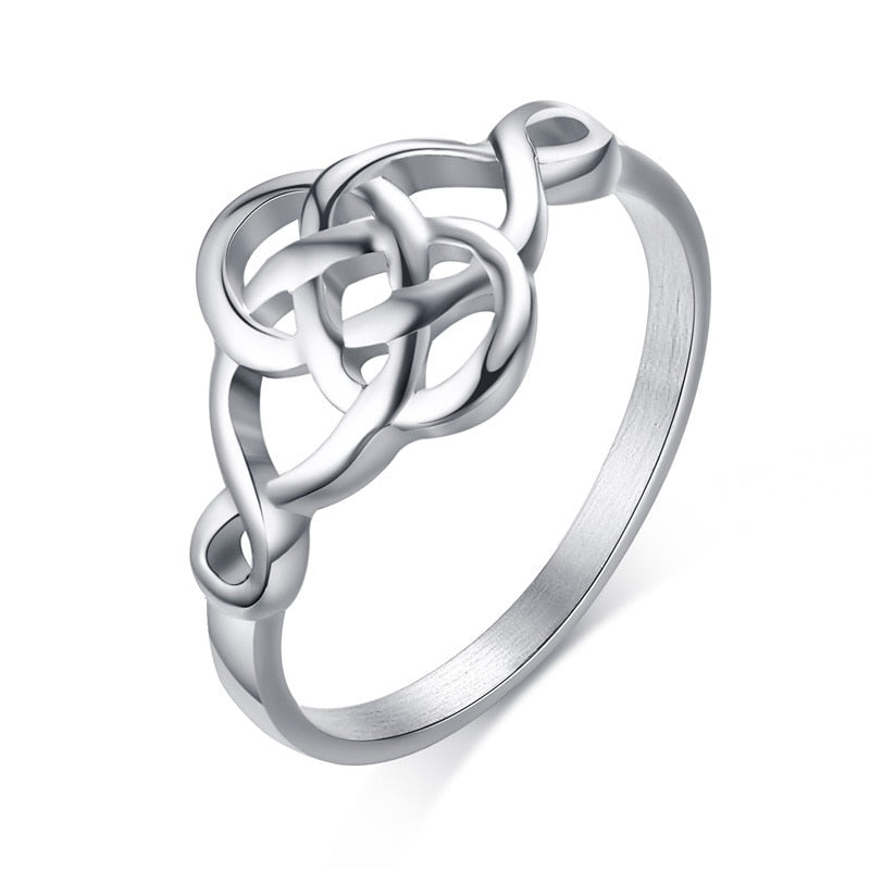 316L Stainless Steel Celtic Knot Ring - Gemwaith