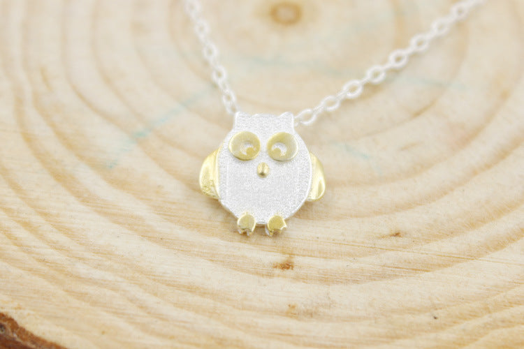 925 Sterling Silver Owl Necklace - Gemwaith