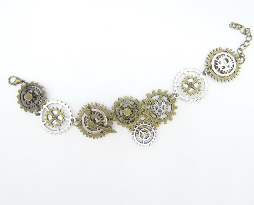 Steampunk Bronze and Silver Mixed Gear Bracelet - Gemwaith