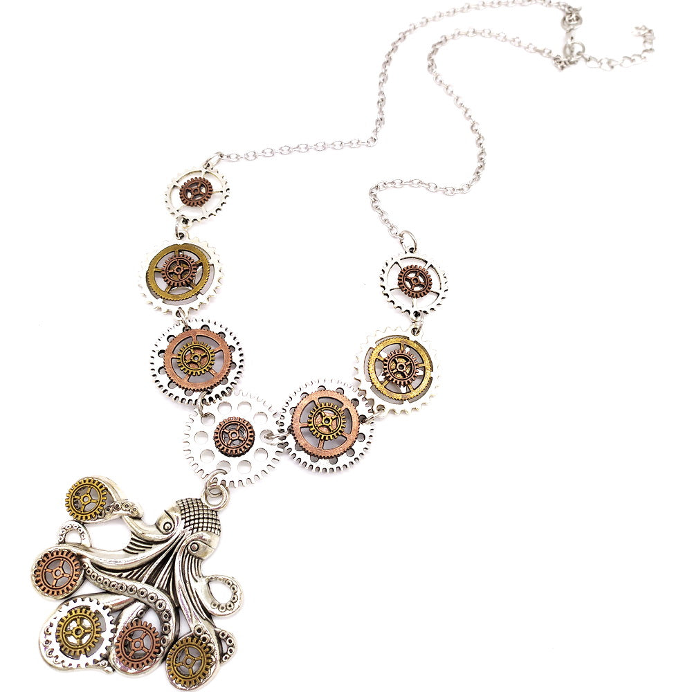 Steampunk Various Gears Octopus Necklace - Gemwaith