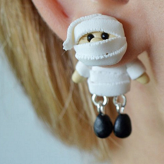 Handmade Polymer Clay Mummy Stud Earrings - 100% Handmade Polymer Clay