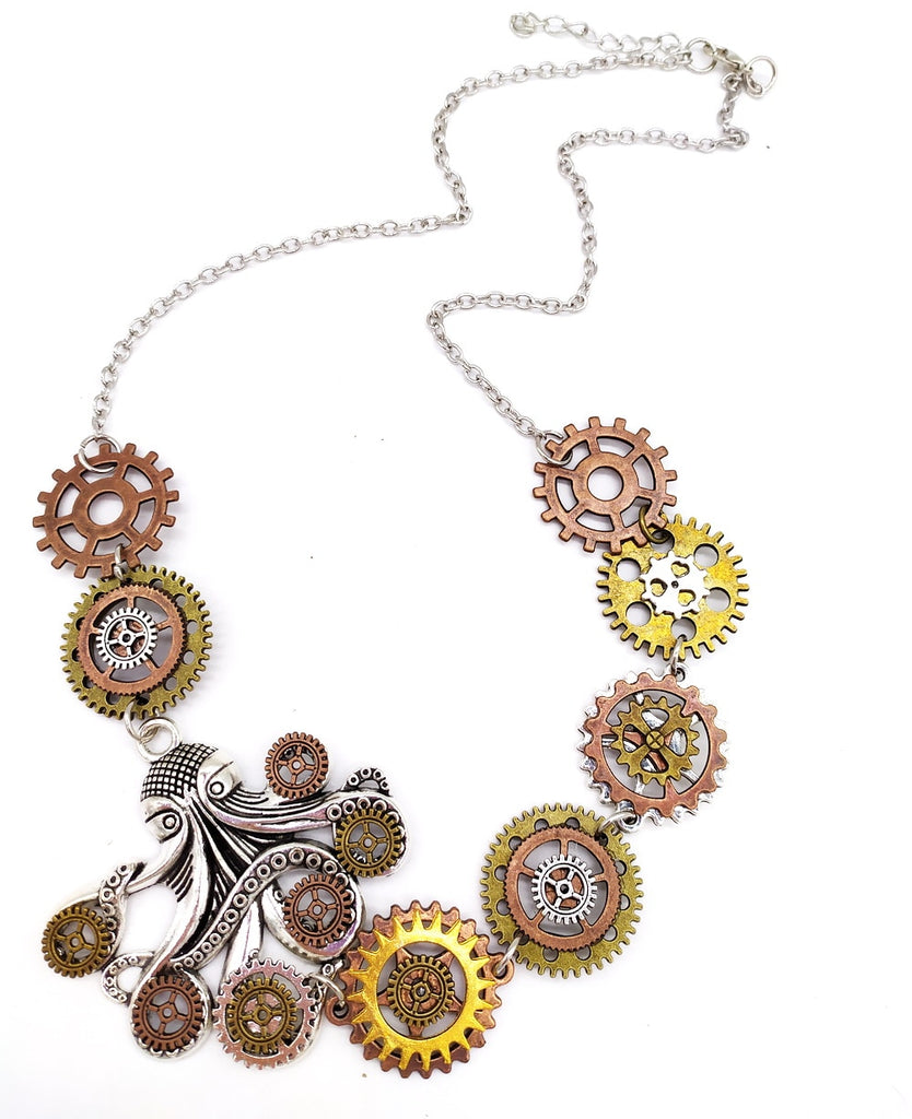 Steampunk Octopus With Gears Necklace - Gemwaith