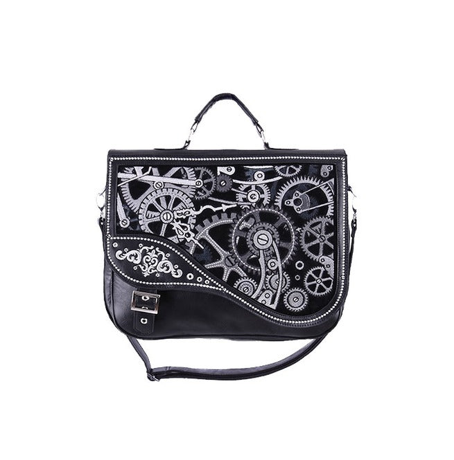 """BLACK MECHANISM"" Steampunk Satchel Bag - Gemwaith"