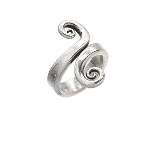 Hill-Tribe Bypass Spiral Adjustable Silver Ring - Gemwaith