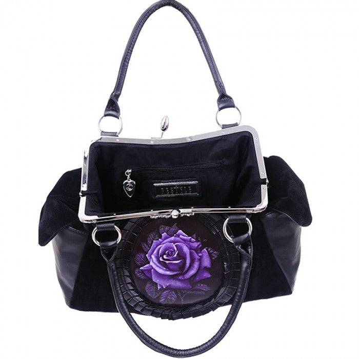 """PURPLE ROSE"" Black Velvet Handbag - Gemwaith"
