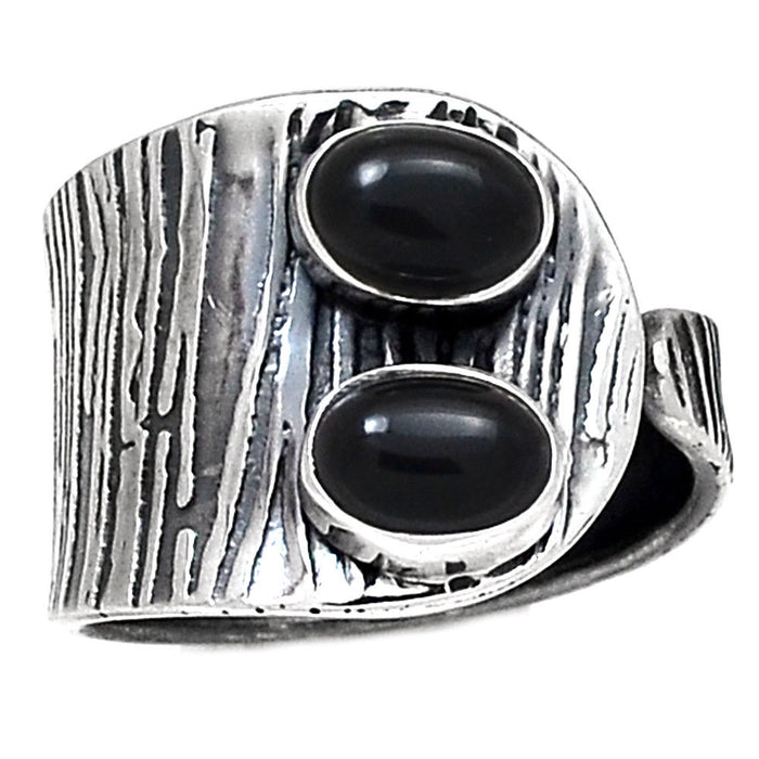 Black Onyx 925 Sterling Silver Ring - Size 8.5 - Gemwaith