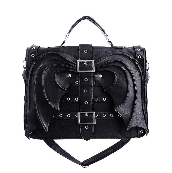 """Bat Wings Bag"" Black Briefcase, Gothic Satchel - Gemwaith"