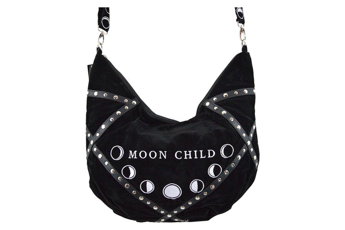"""MOON CHILD"" Black Velvet Bag - Gemwaith"