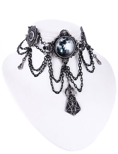"""MOON GEOMETRY CHOKER"" Moon Collar, Full Moon, Moon Phases - Gemwaith"