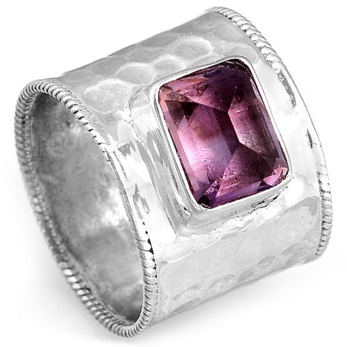 Genuine 925 Sterling Silver Amethyst Hammered Wide Band Ring - Gemwaith