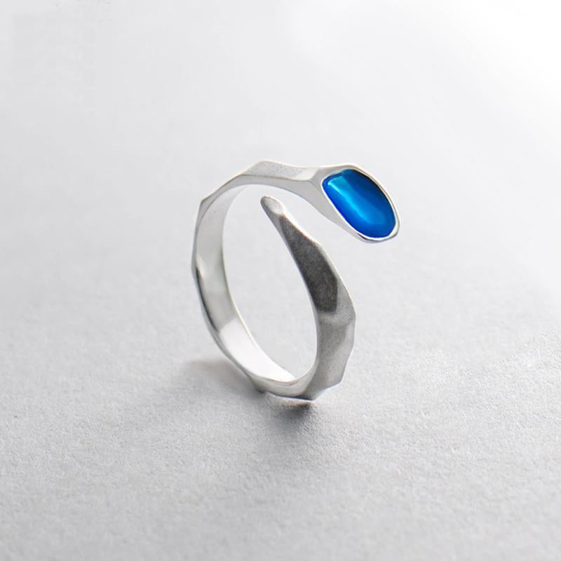 Blue Water Design s925 Sterling Silver Matte Ring - Gemwaith