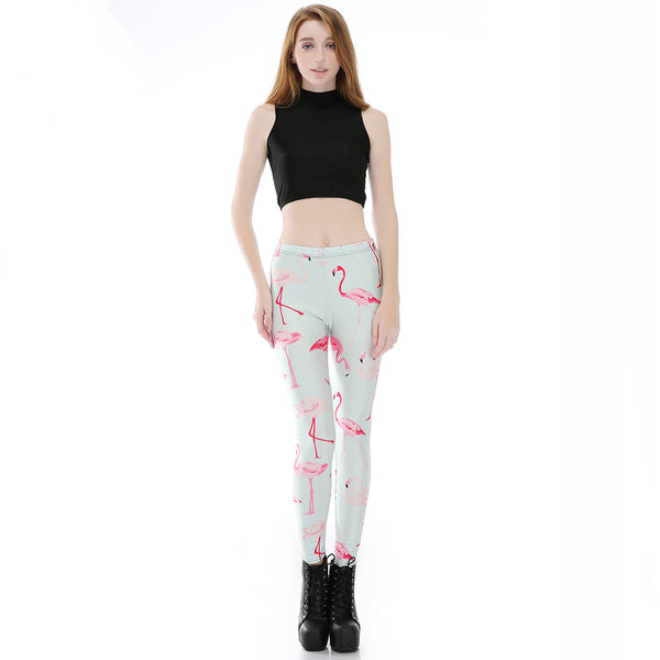 3D Print Retro Pink Flamingo Leggings