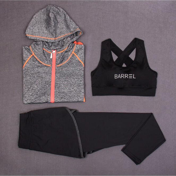 3 Piece Female Zip Up Hoodie - Sports Bra - Shorts/Pants Combo