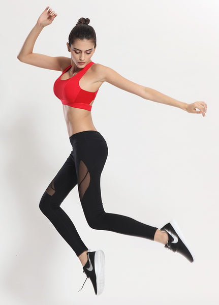 Slice Mesh Diagonal Workout Leggings