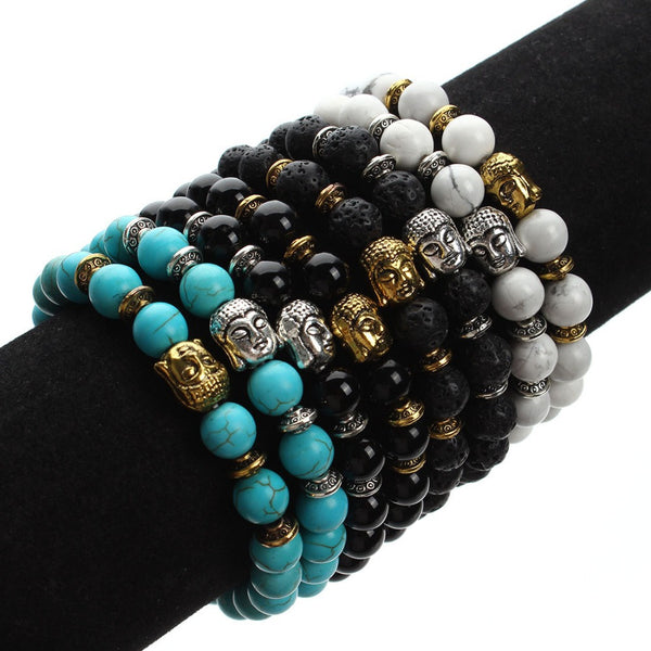 Natural Agates and Black Lava Beads Bracelet