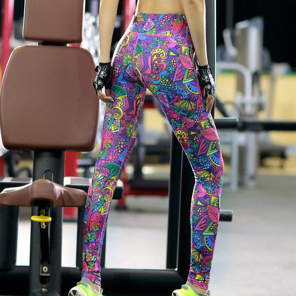 Neon Print High Elastic Leggings