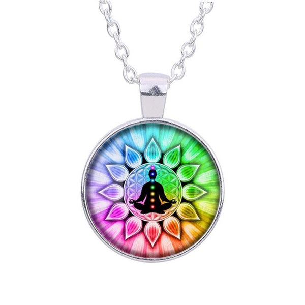 Colorful Flower of Life Chakras Glass Pendant