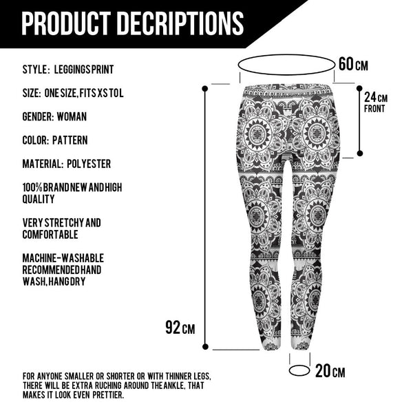 Mandala Black Print Leggings