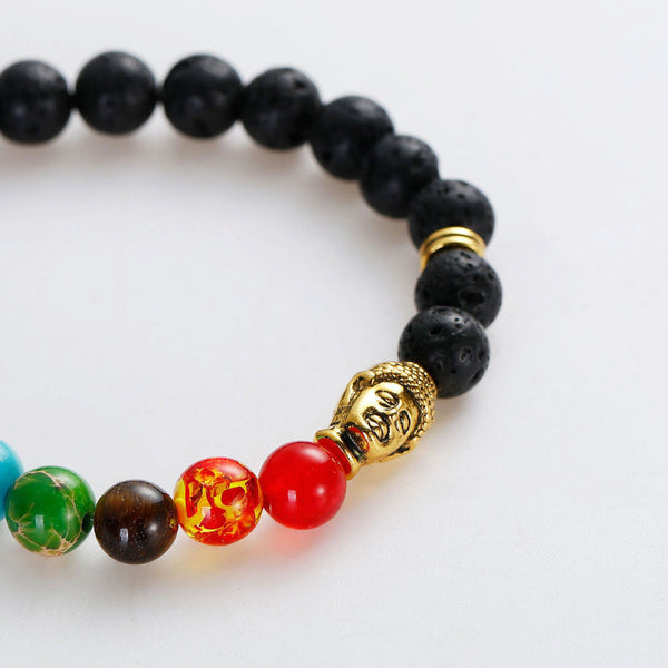 Multi - Color Chakra Lava Beaded Buddha Healing Bracelet