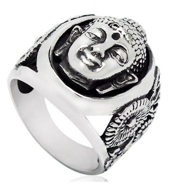 Vintage Buddha Stainless Steel Ring