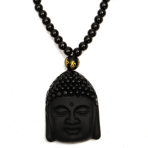 Black Obsidian Carved Buddha Bead Necklace