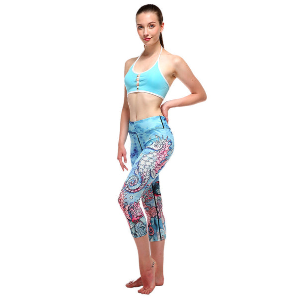 Blue Ocean Escape High Waisted Yoga Capris