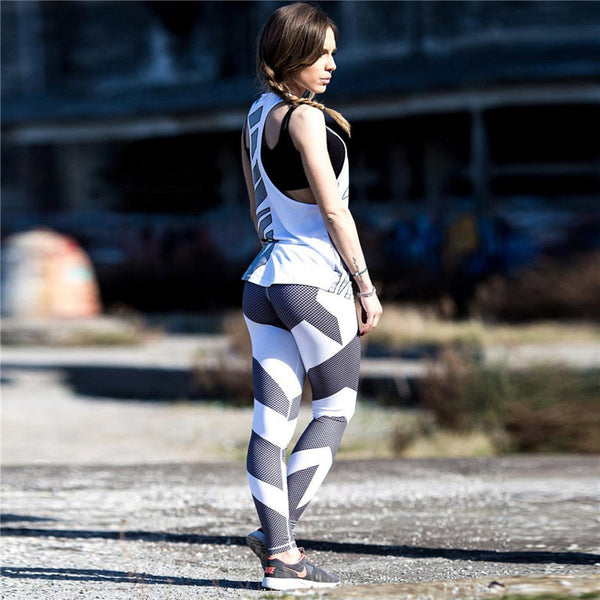 Vertical Strip Patchwork Mesh Panels Leggings