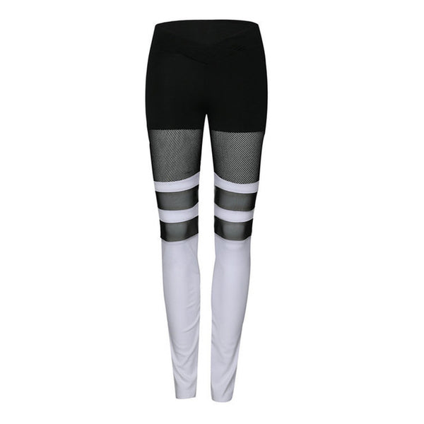Patchwork Mesh Stripe Leggings