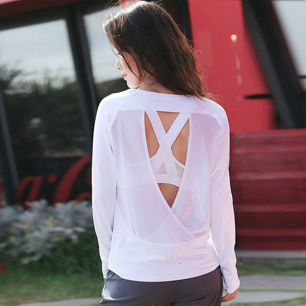 Cut Out Mesh Back Yoga Cover Top