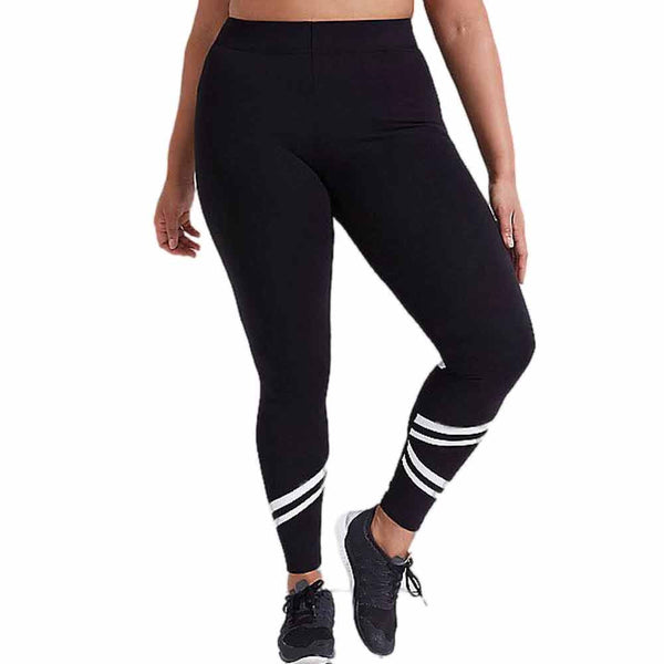 Plus Size Elastic Mesh White Cross Yoga Pants