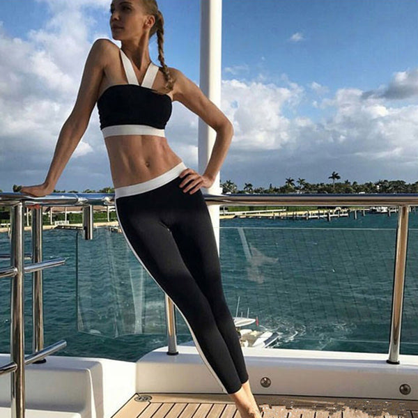 White/Black Simple Stripe Mesh Yoga Leggings