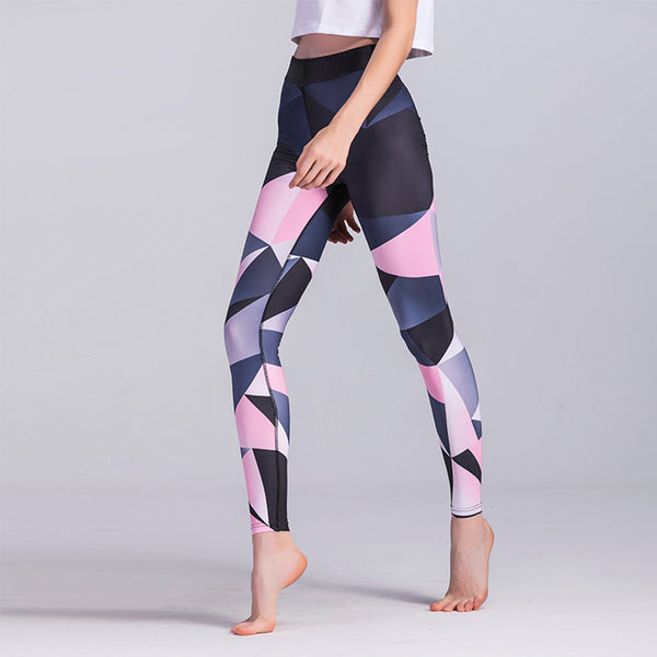 Pink Geometric Triangle Breathable Dry Leggings