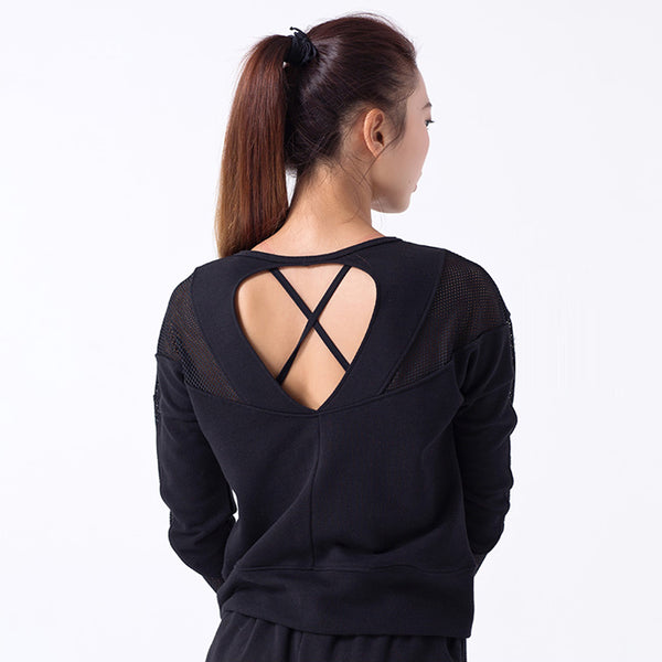Backless Long Mesh Patchwork Sleeve Tee