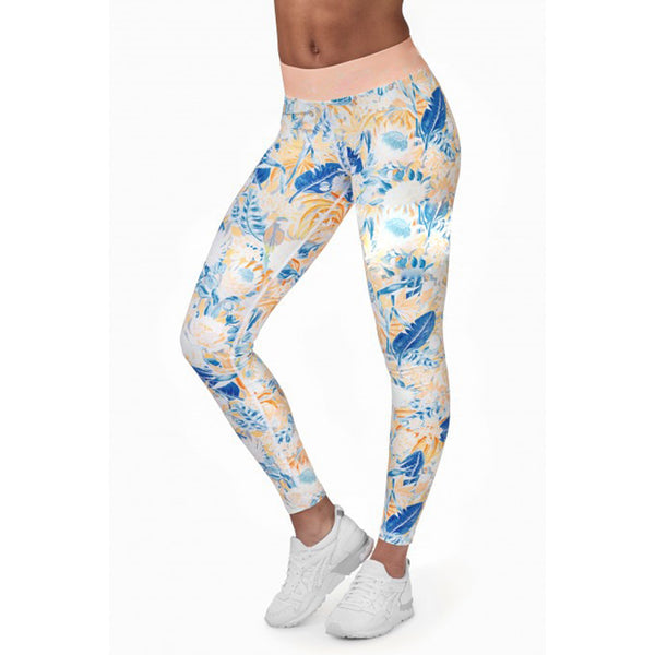 White Tropical High Elastic Yoga Leggings