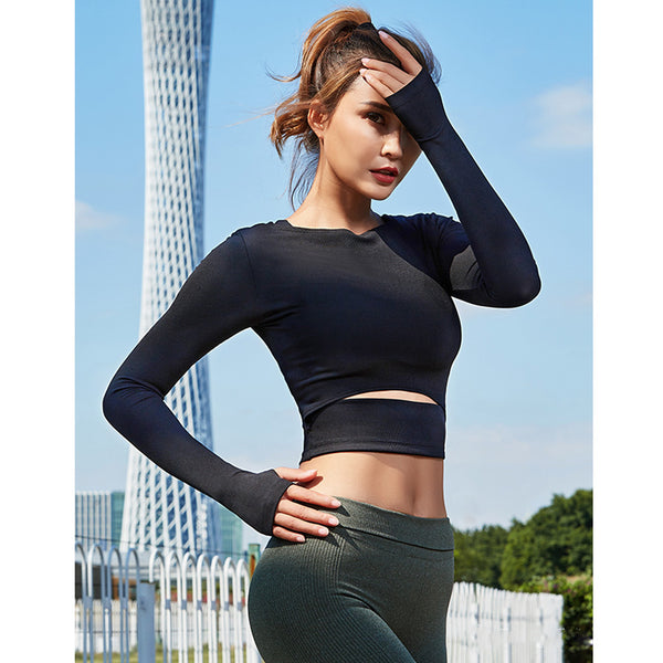 Long Sleeve Sliced Workout Crop Top