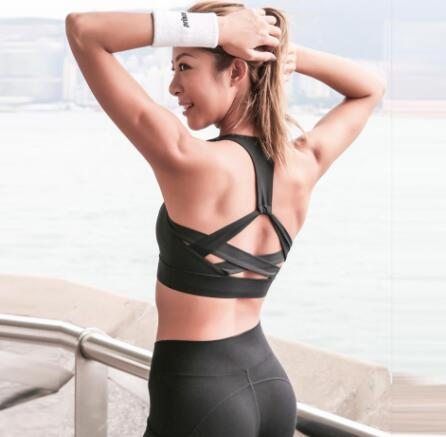 JNC 2018 New Style White Strap Push Up Sports Bra for Women Gym Running Padded Bra Athletic Vest Hollow out Sportswear Underwear