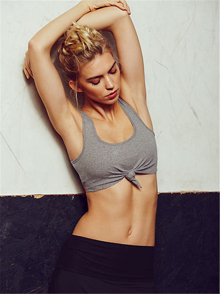 Knotted Tie Ribbed Sports Bra
